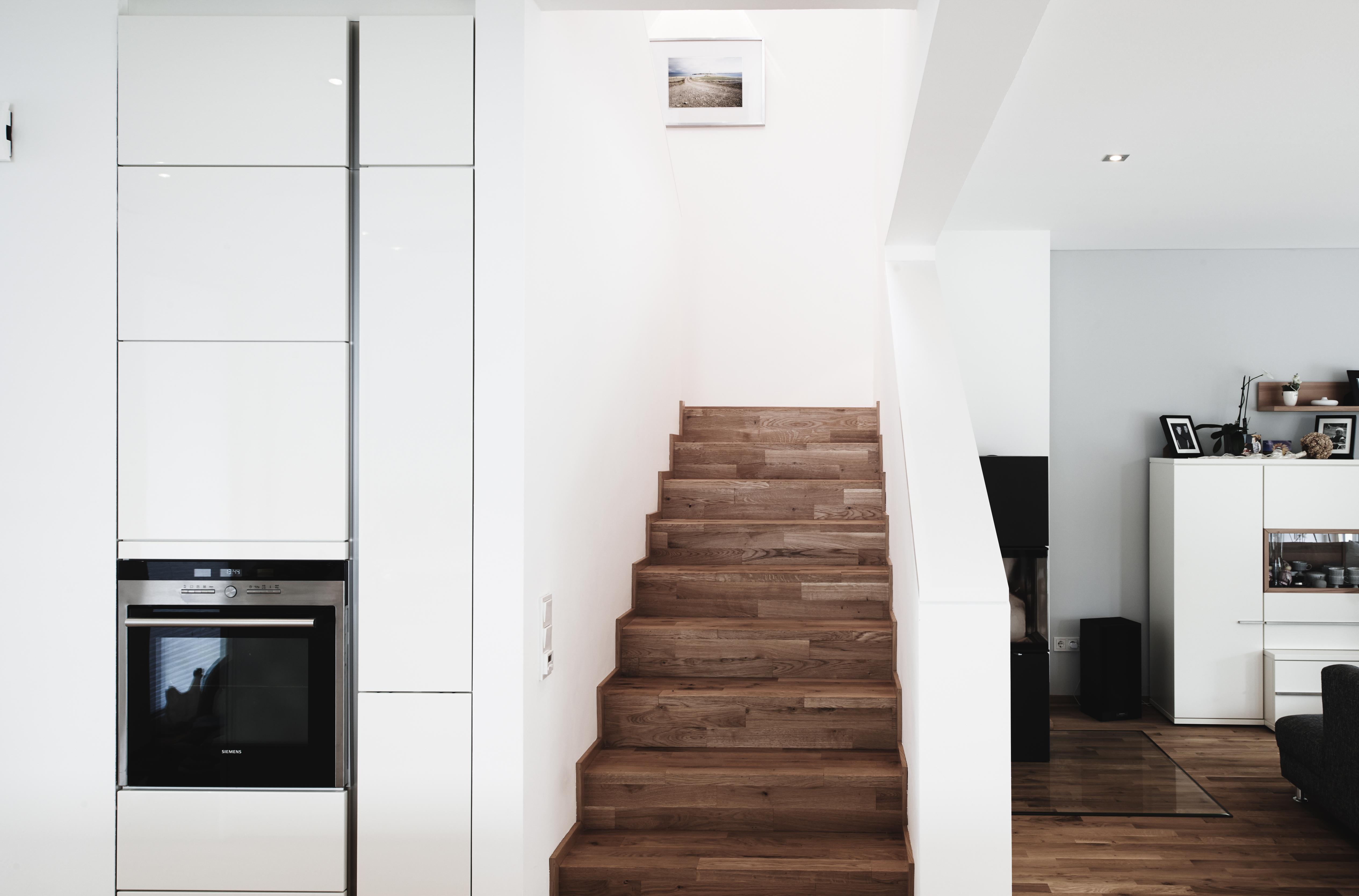 Holzabwicklung auf Treppe